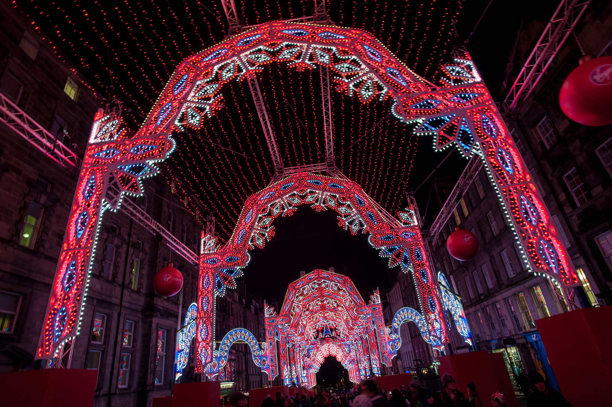 Virgin Money Street of Lights launches with a specially designed architectural installation of 26 arches of 60,000 lights stretching along the Royal Mile, from City Chambers to the Tron Kirk in Edinburgh, Scotland, on Nov. 30, 2015. GETTY IMAGES/Roberto Ricciuti.