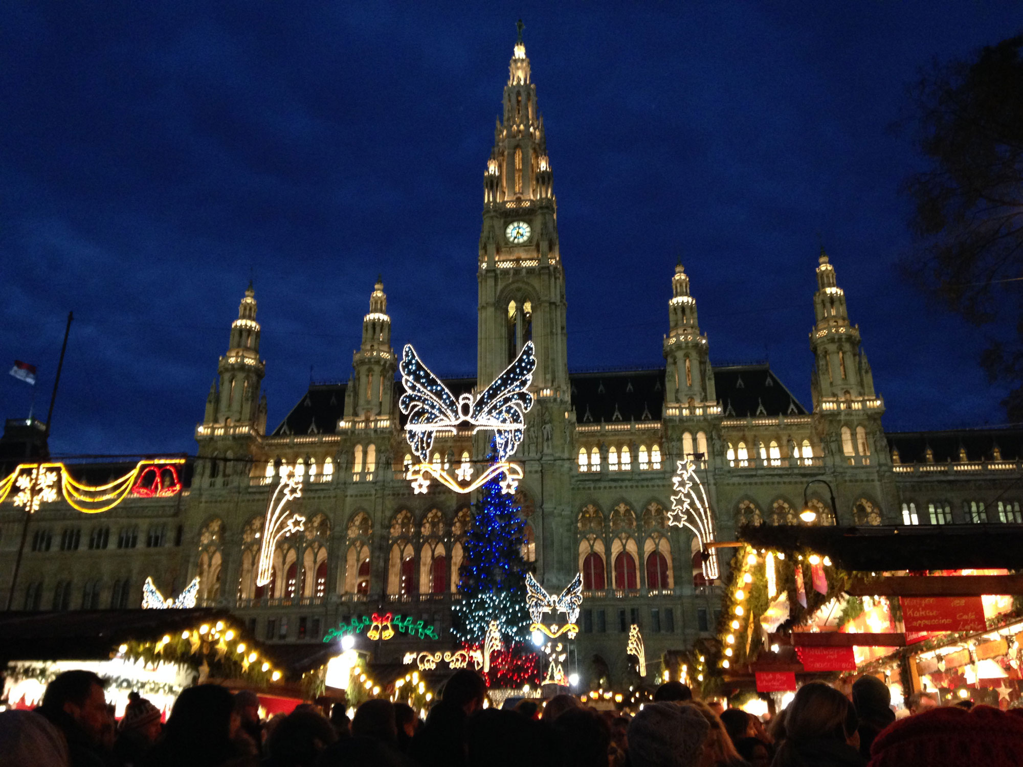 Decorations and lights at the Christmas market in Vienna, Austria, on Nov. 28, 2015. 680 NEWS/Patricia D'Cunha.