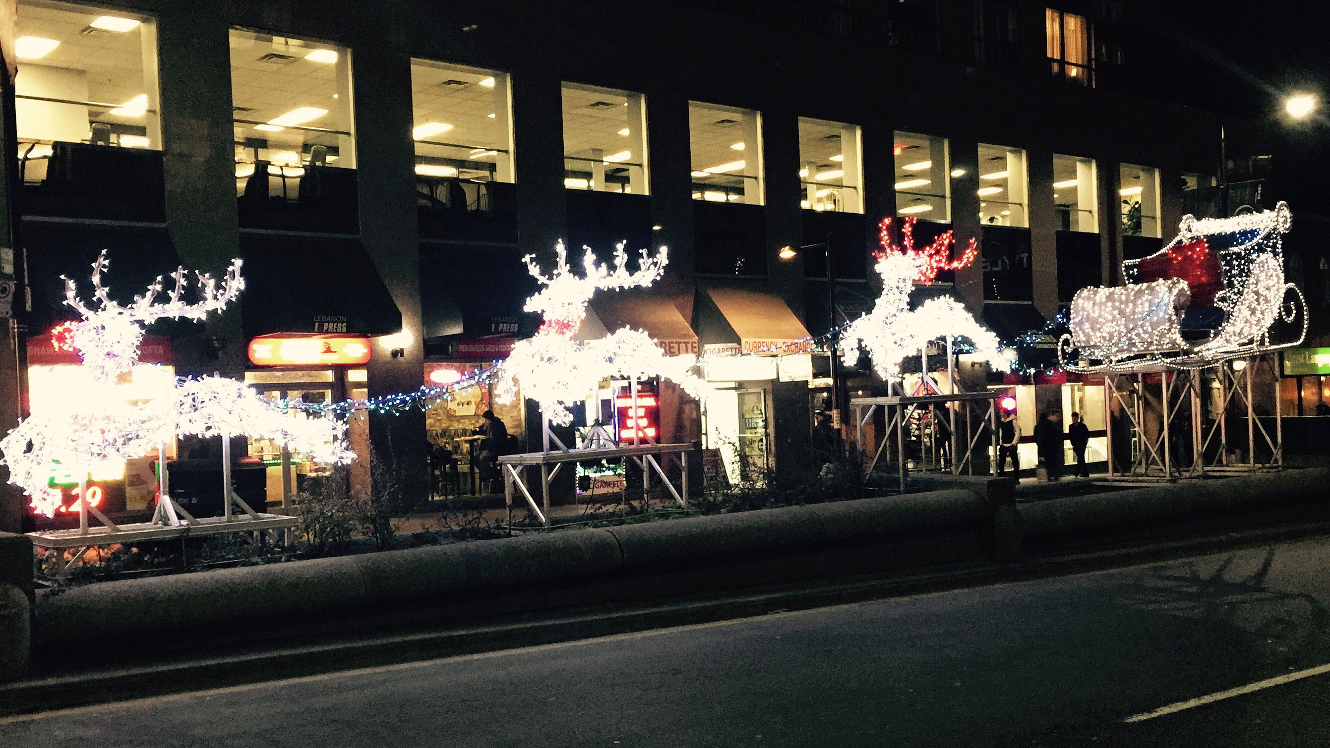 Christmas reindeer at Yonge and College streets on Nov. 30, 2015. 680 NEWS/Diana Pereira.