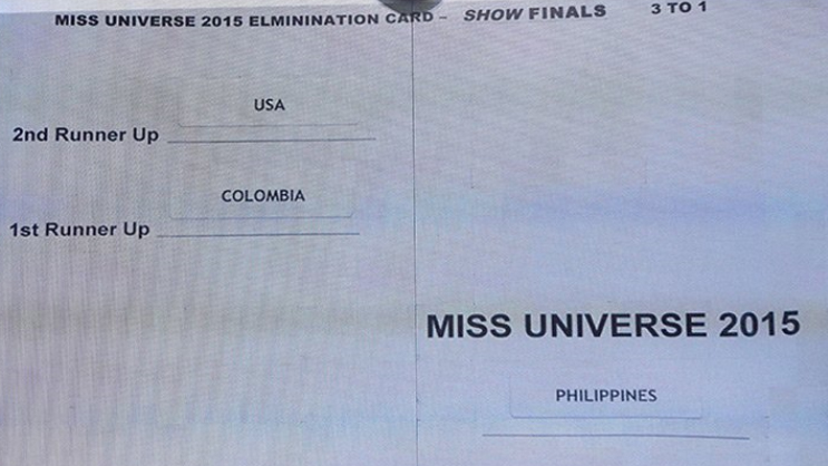 "The word ""elimination"" was spelled incorrectly on the Miss Universe official winner card."