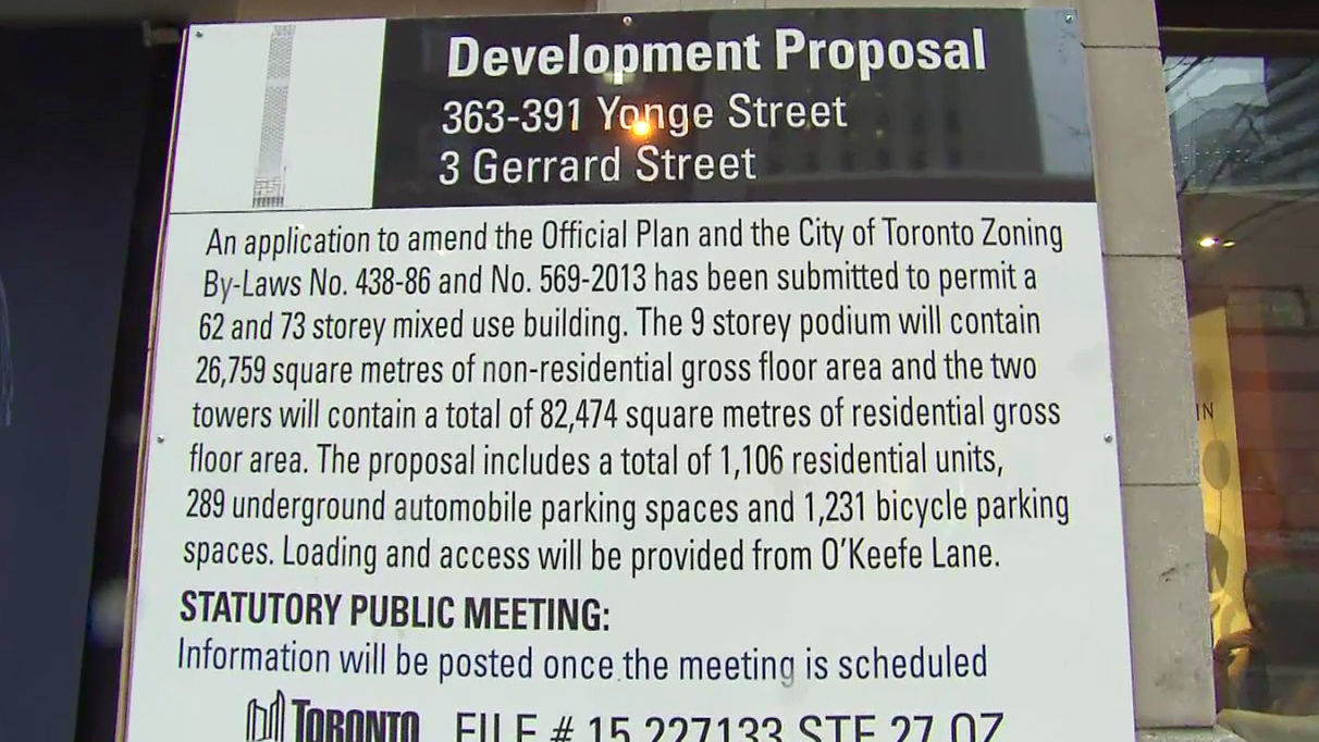 The development proposal for the site currently occupied by The Yonge Street Mission, seen here on Dec. 30, 2015. CITYNEWS.