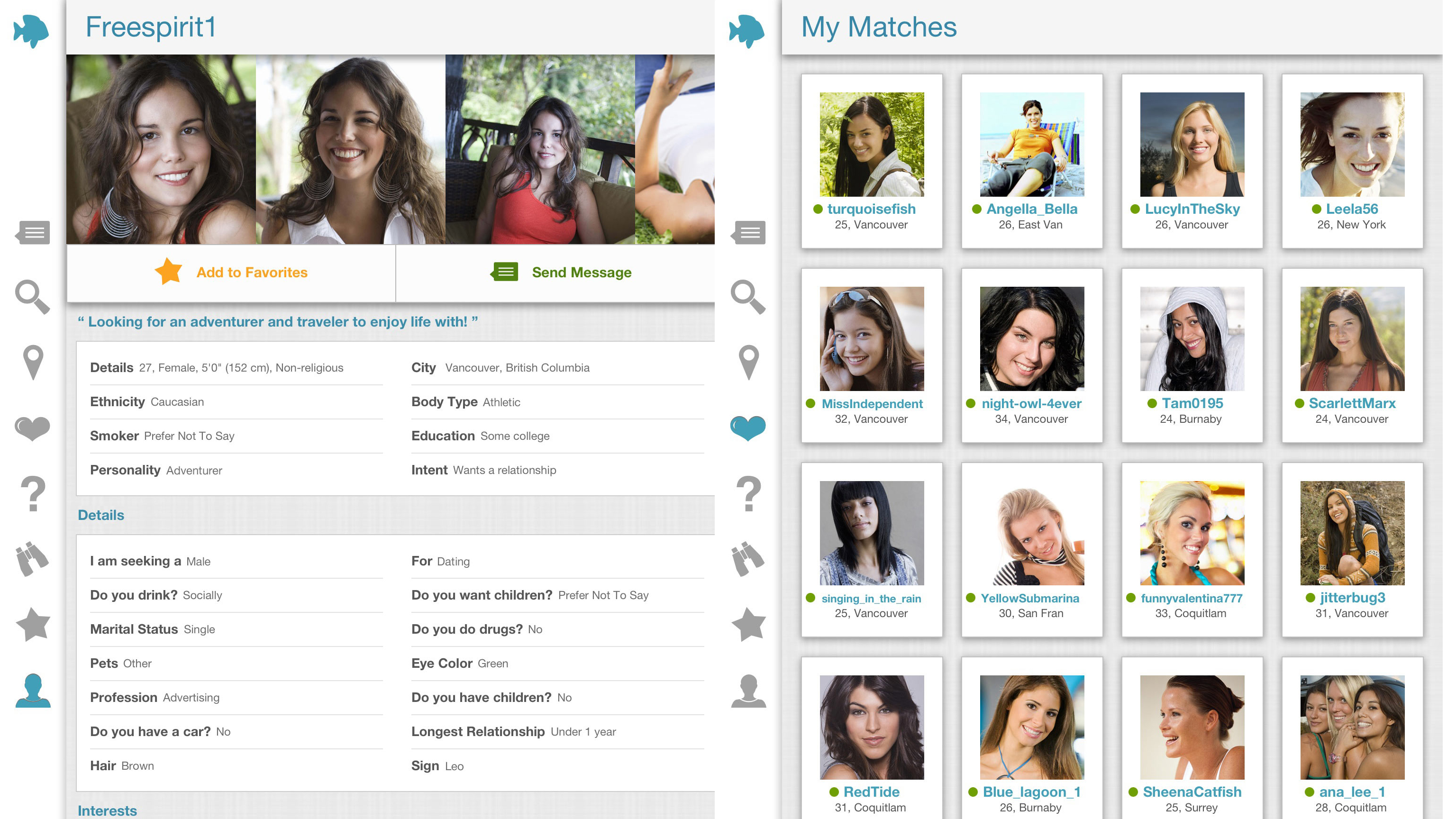 list of free online dating