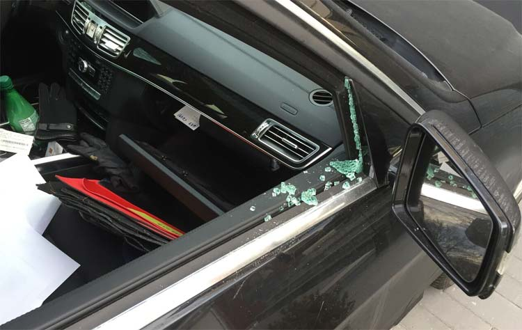 Damage done to a North York car during a brazen break-in. PHOTO: ANDREW REVAI
