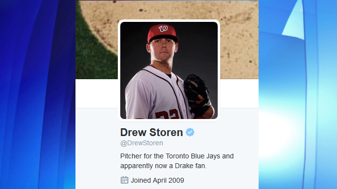 Drew Storen's new Twitter bio showing his standing as Blue Jays' pitcher, Jan. 9, 2016. TWITTER