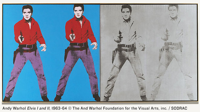 Andy Warhol's Elvis I and II (1963–64), the Andy Warhol Foundation for the Visual Arts. Photo via AGO.