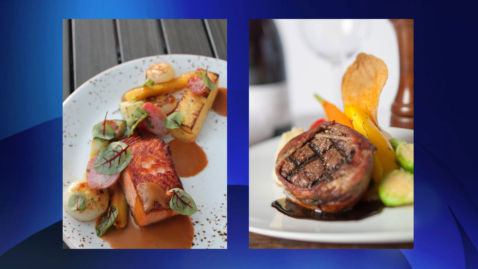 (Left to right): Salmon dish at Soco, and bacon-wrapped beef tenderloin at Quinn's, are some of the dishes being offered at Winterlicious 2016. CITY OF TORONTO.
