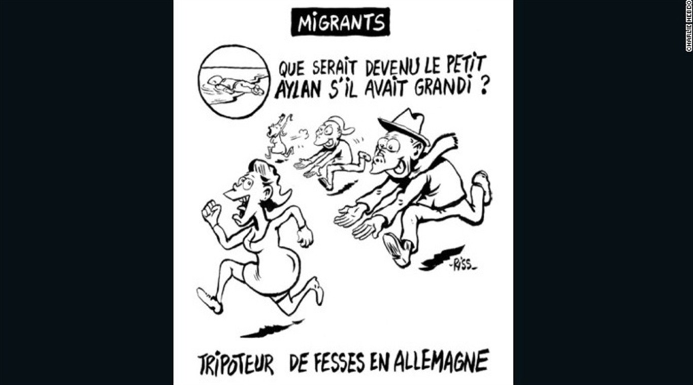 Cartoon of dead Syrian toddler in controversial French