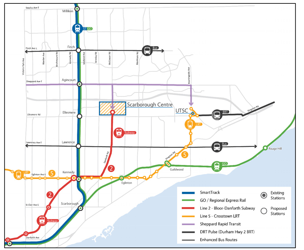 The proposed layout for the Scarborough transit plan.
