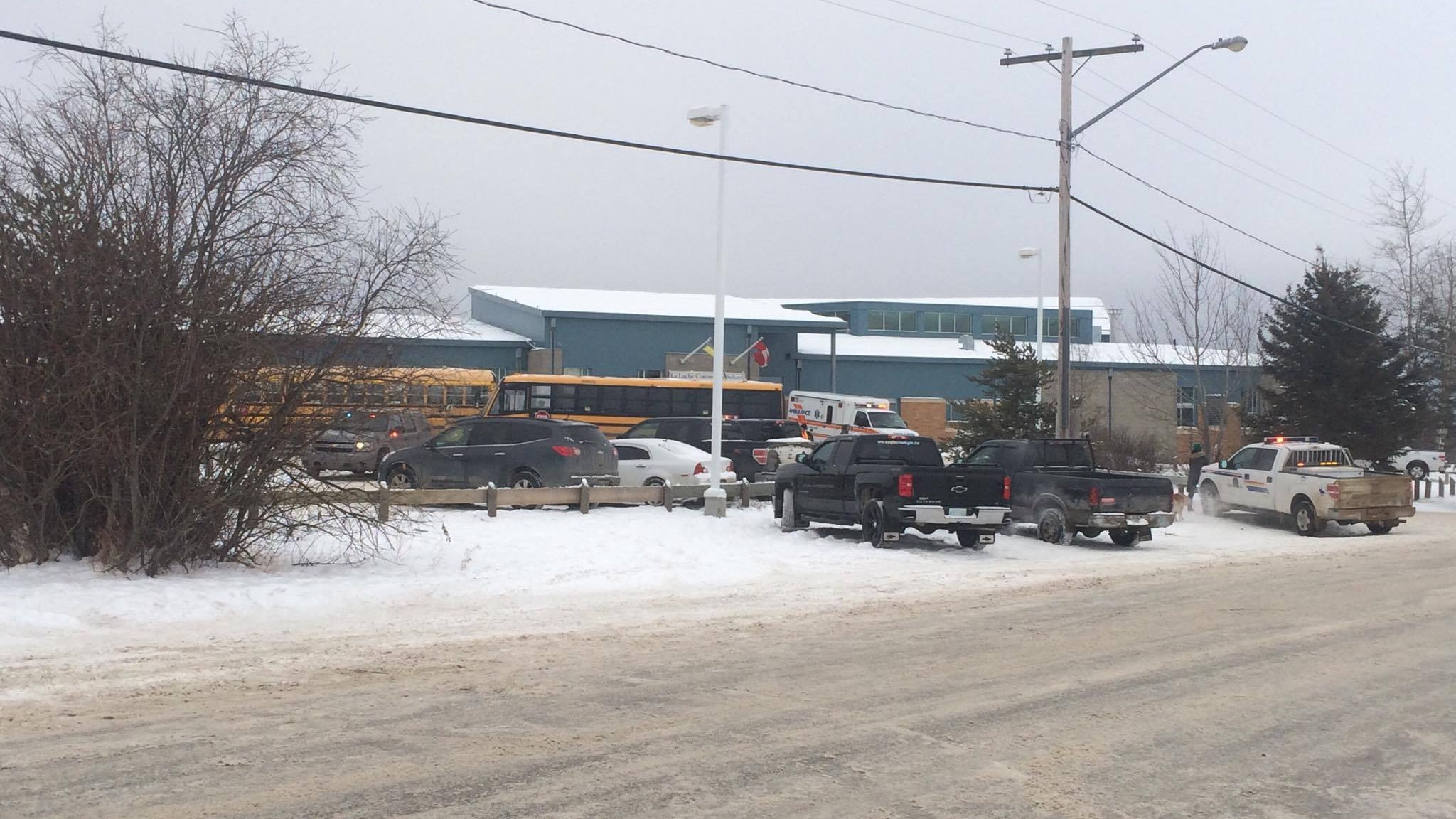 Police investigating after a shooting has killed two people at a Saskatchewan school. Photo by Joshua Mercredi.