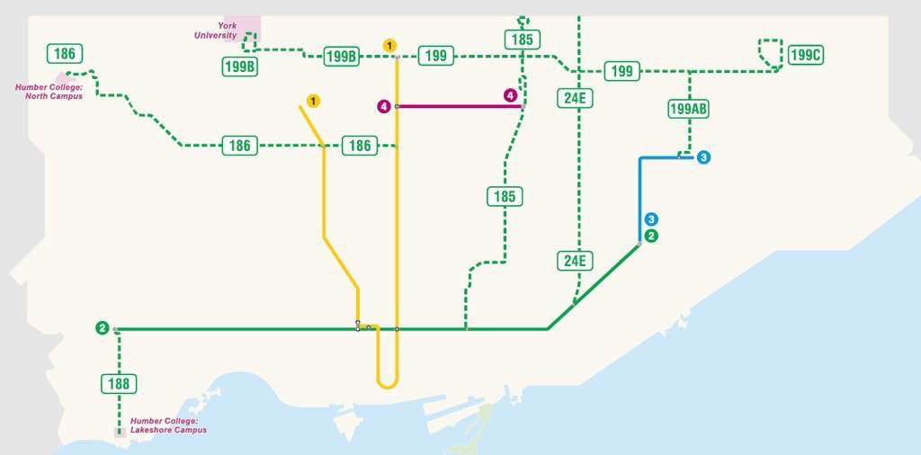 The TTC rolled out several new express bus routes on March 27-28, 2016. TTC.