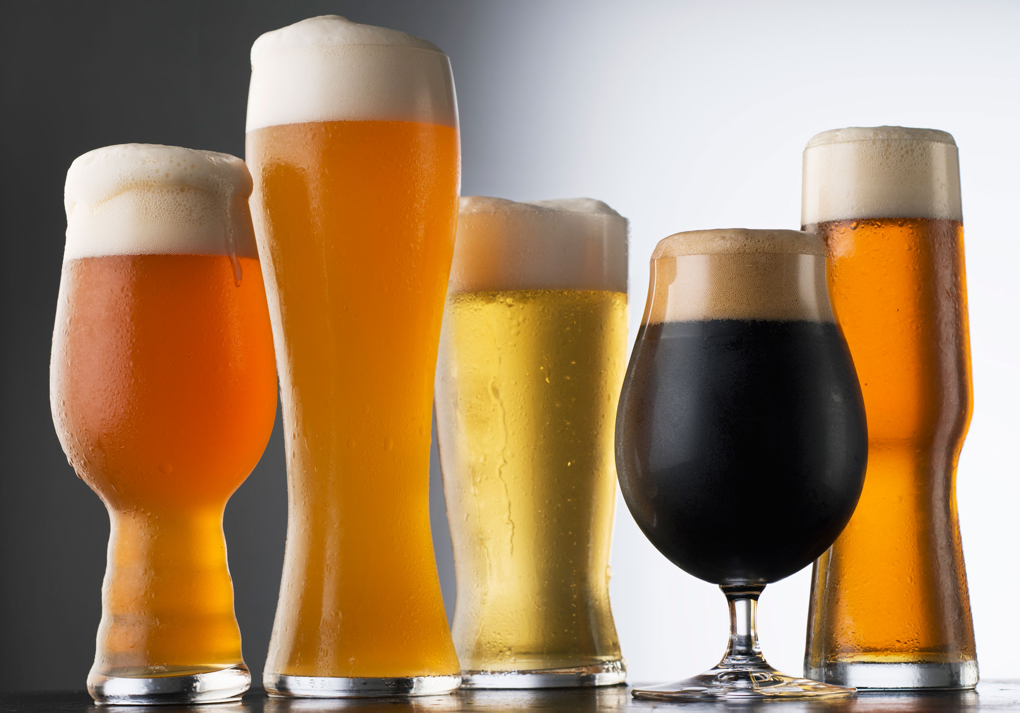 Various types of beer in glasses. GETTY IMAGES