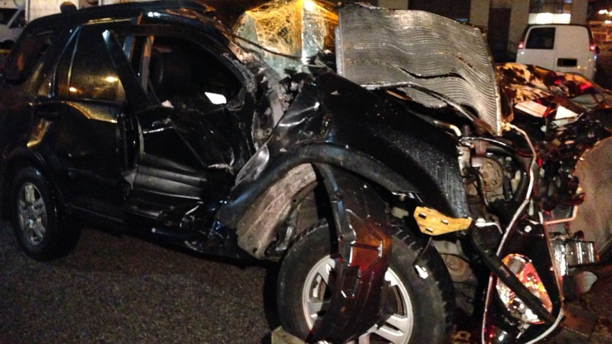 Tractor Trailer Head On : Woman has head injuries after suv slides under tractor
