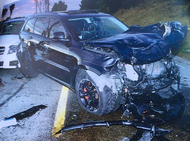 Image presented in court of the crash caused by Marco Muzzo.