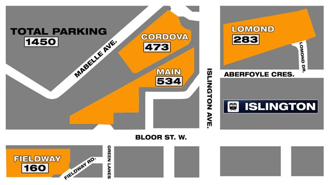 Current parking available for Islington station. GRAPHIC: CITYNEWS