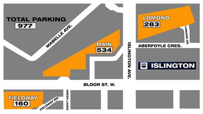 Parking for Islington station, after Cordova is shut down. GRAPHIC: CITYNEWS