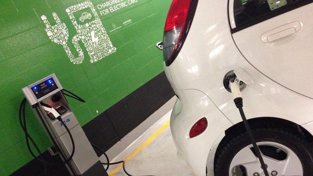 An electric car charging,  Feb. 10, 2016. George Joseph/CityNews
