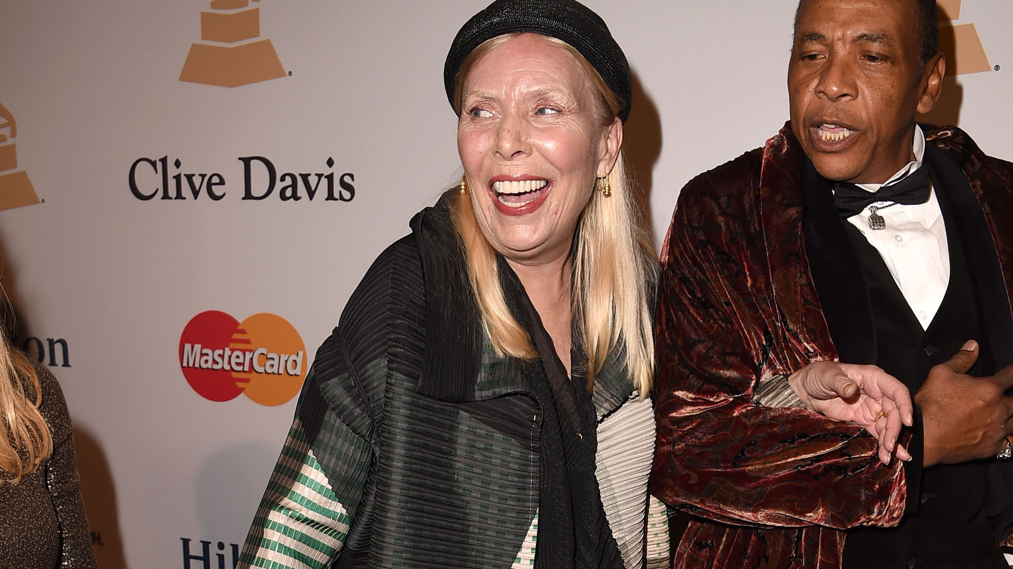 Joni Mitchell arrives at the Pre-GRAMMY Gala And Salute To Industry Icons Honoring Martin Bandier on Feb. 7, 2015 in Los Angeles. WIRE IMAGE/Steve Granitz.