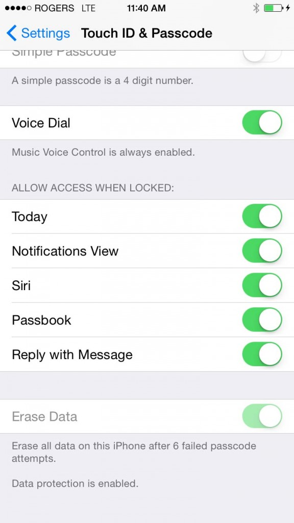 The erase data option available on iphones. Screen from an iphone6.