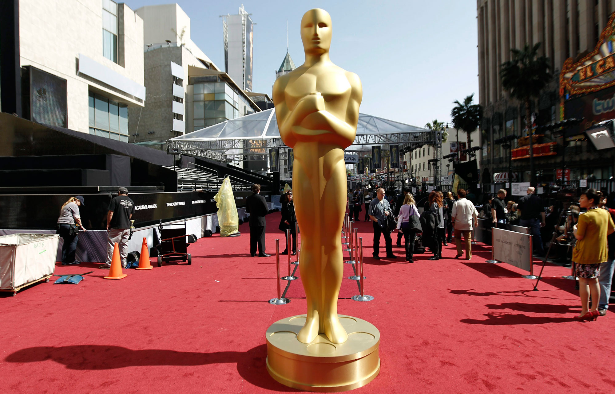 A Oscar statue is seen on the red carpet before the 84th Academy Awards in Los Angeles on Feb. 25, 2012. THE ASSOCIATED PRESS/Matt Sayles.