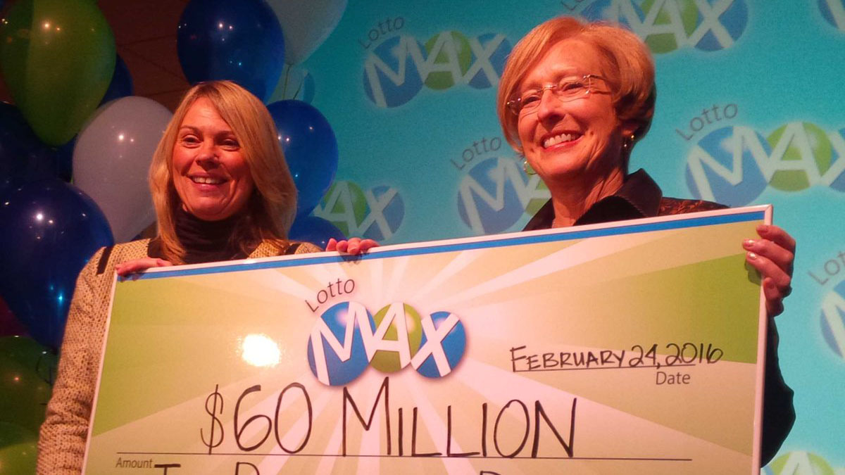 Joan Patterson, a rancher from Desboro, collects her $60 million prize on Feb. 24, 2016. 680 NEWS/Kevin Misener.