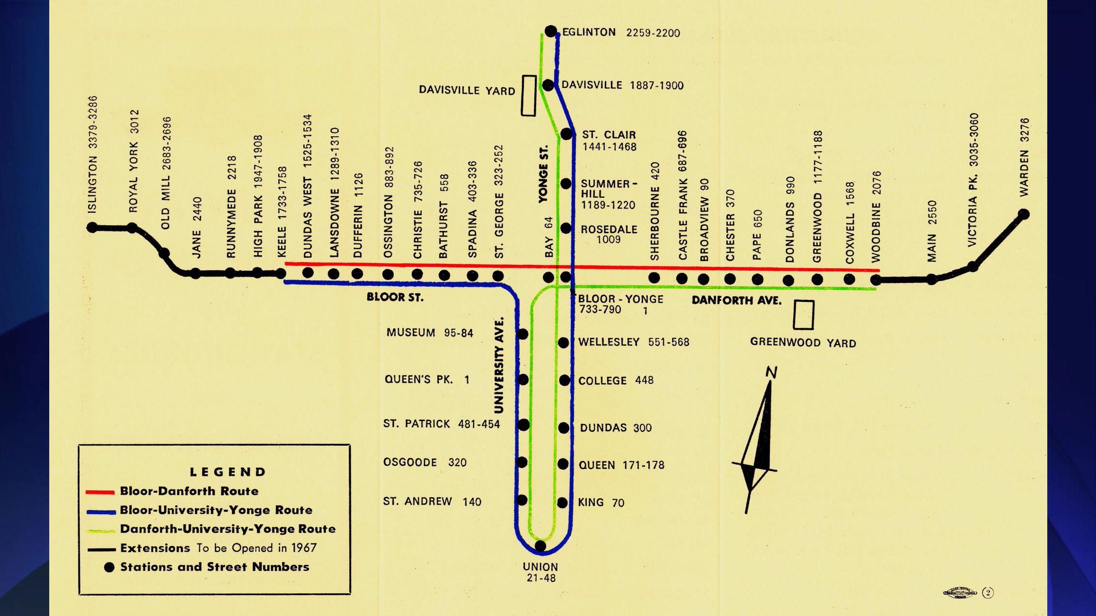 Toronto Subway Map Yonge Line.Ttc Celebrates Bloor Line S 50th Birthday