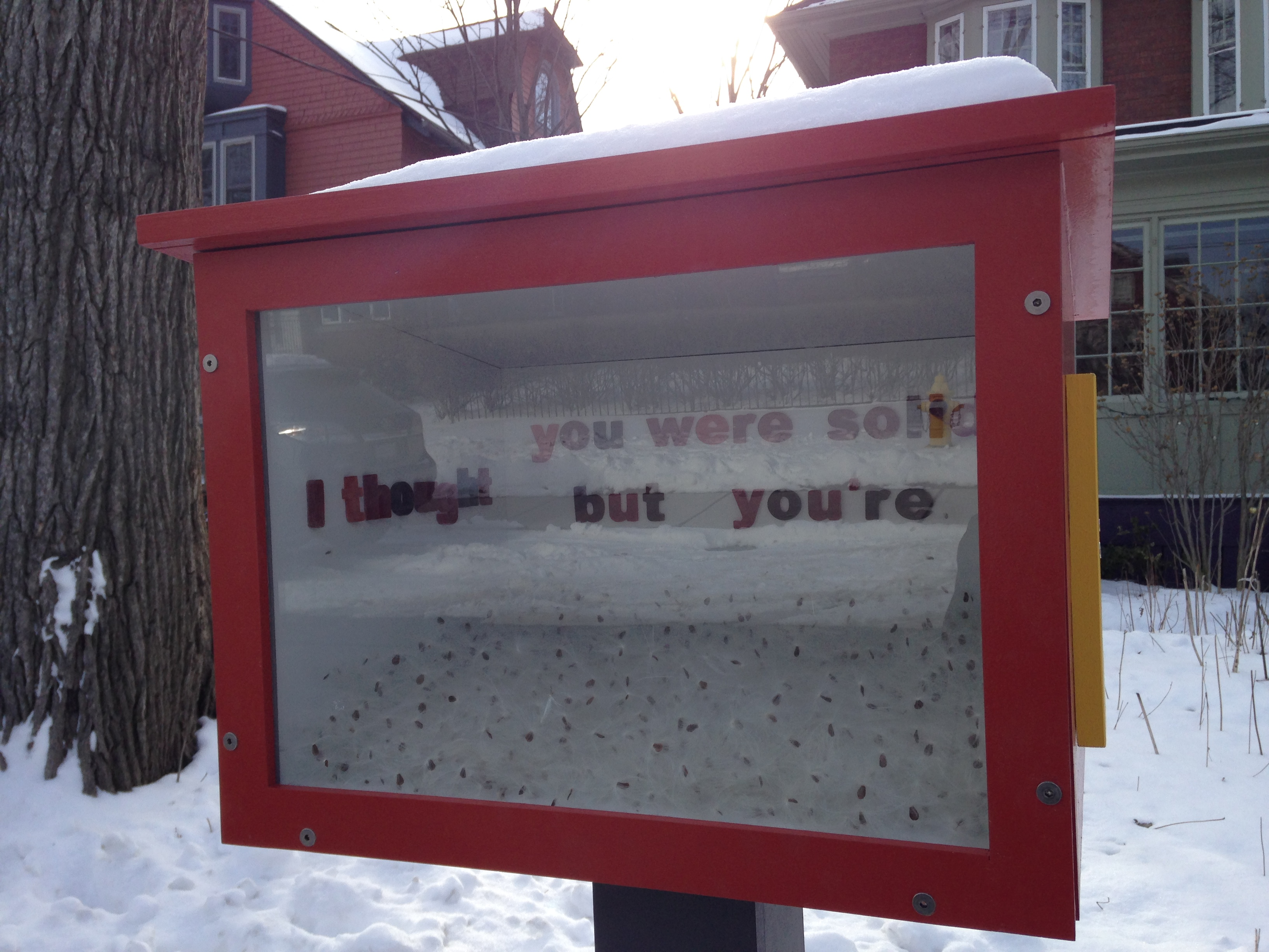"Artist Erika James' piece, ""I thought you were solid but you're just fluff,"" part of the Open Field Collective's Street Projects in Toronto. CITYNEWS/Patricia D'Cunha."