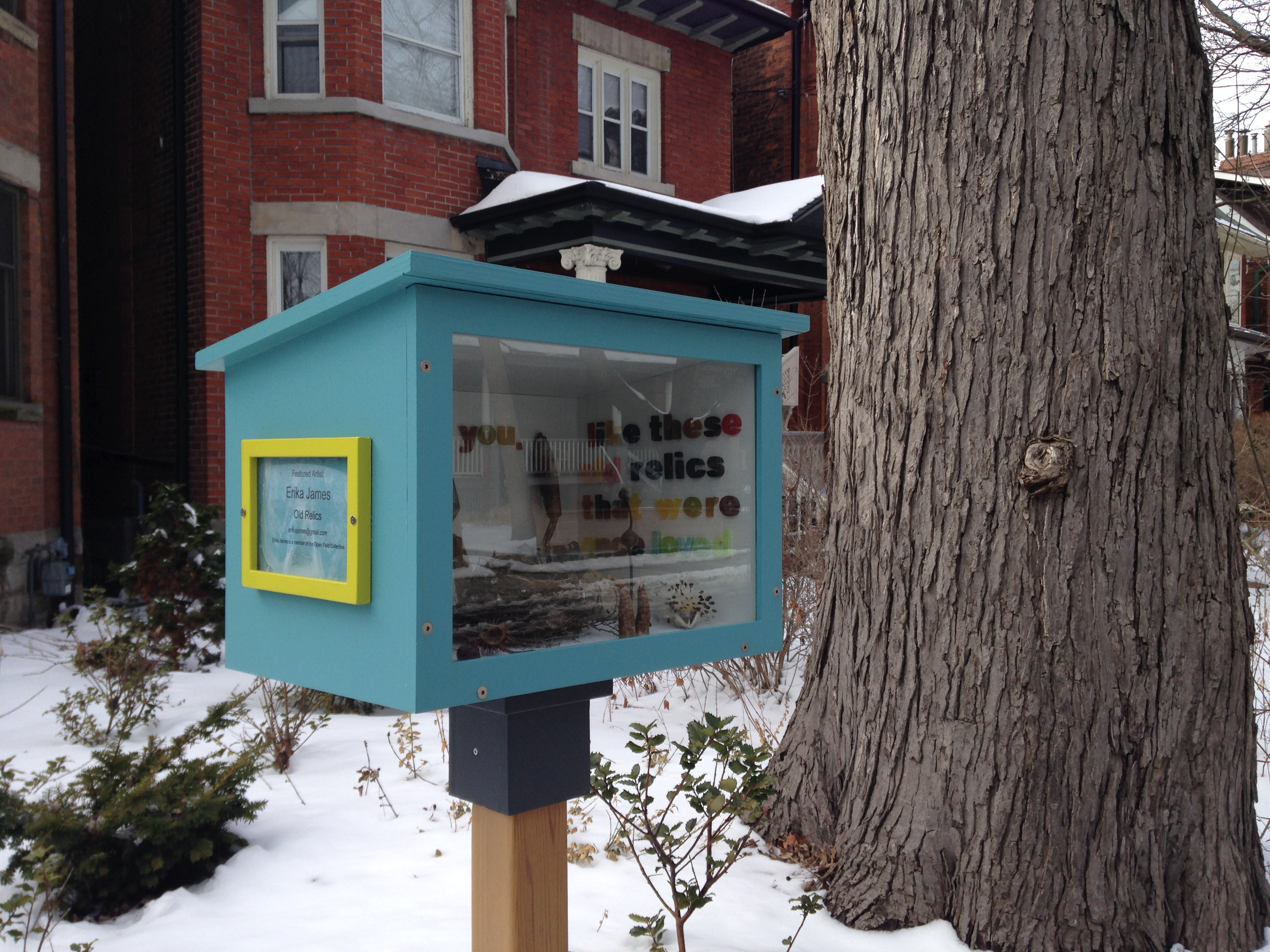 """Artist Erika James' piece, """"Old Relics,"""" part of the Open Field Collective's Street Projects in Toronto. CITYNEWS/Patricia D'Cunha."""