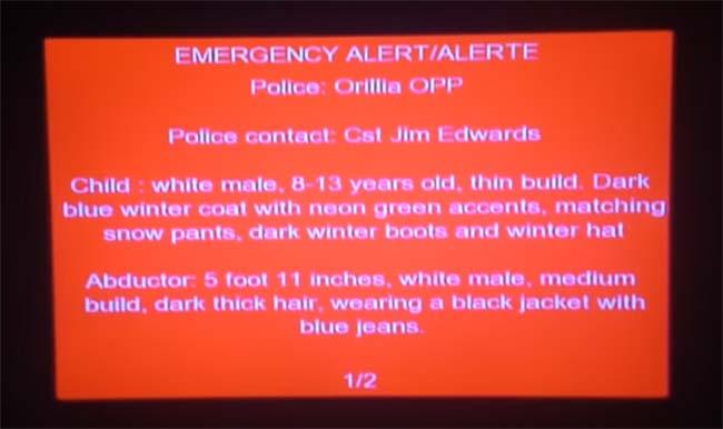 screengrab of red alert Sunday night
