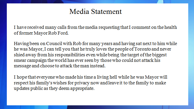 Rob Ford S Tumours Not Responding To Chemo Chief Of Staff