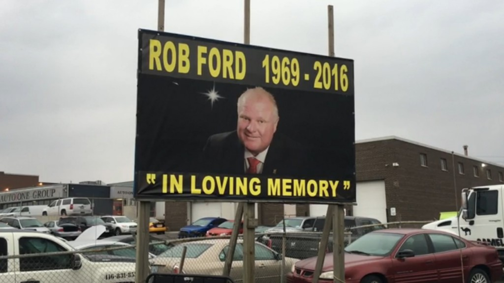 Rob Ford sign posted along Highway 400. March 22, 2016. CITYNEWS