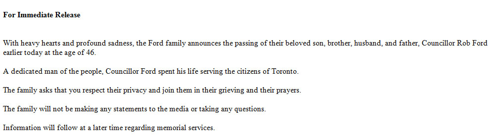 Rob Ford's death was confirmed via a statement from his family.