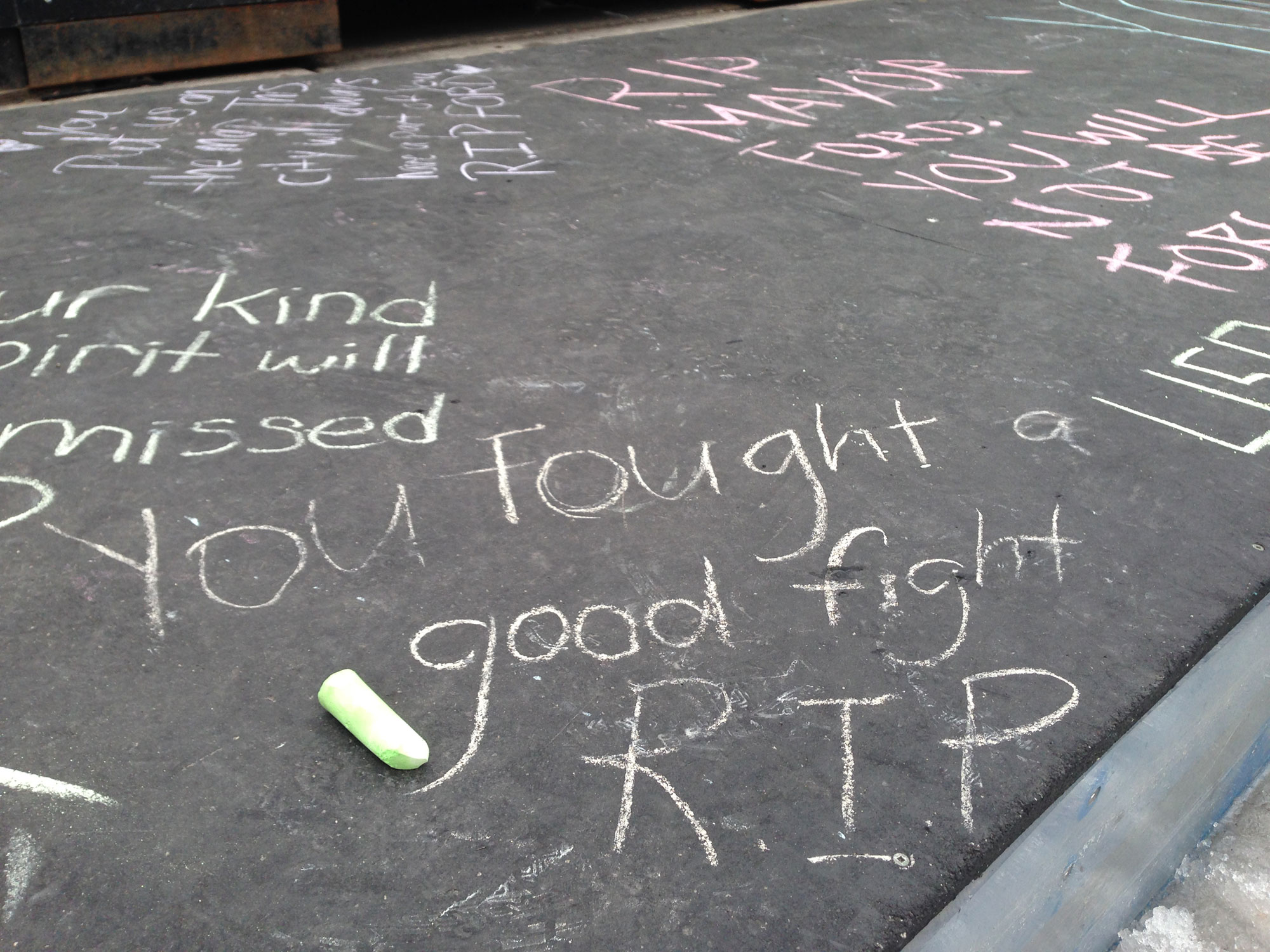 Some of the messages being left in chalk at Toronto City Hall following the death of Rob Ford on March 22, 2016. CITYNEWS/Adrian Golombek.