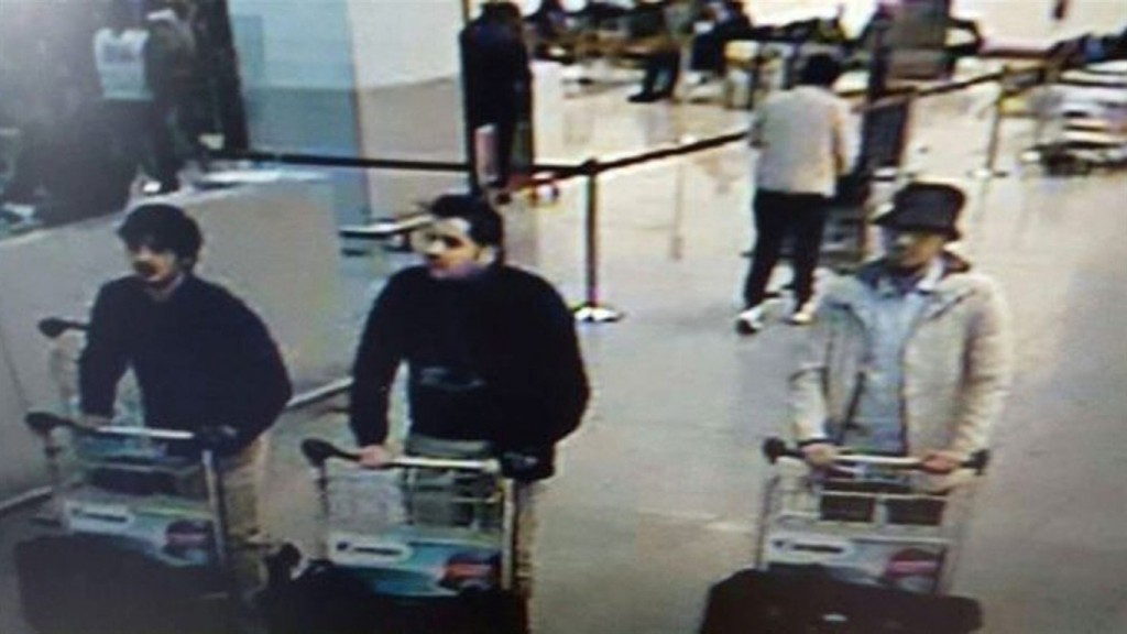 Three men who are suspected of taking part in the attacks at Belgium's Zaventem Airport on March 22, 2016. THE ASSOCIATED PRESS/Belgian Federal Police.