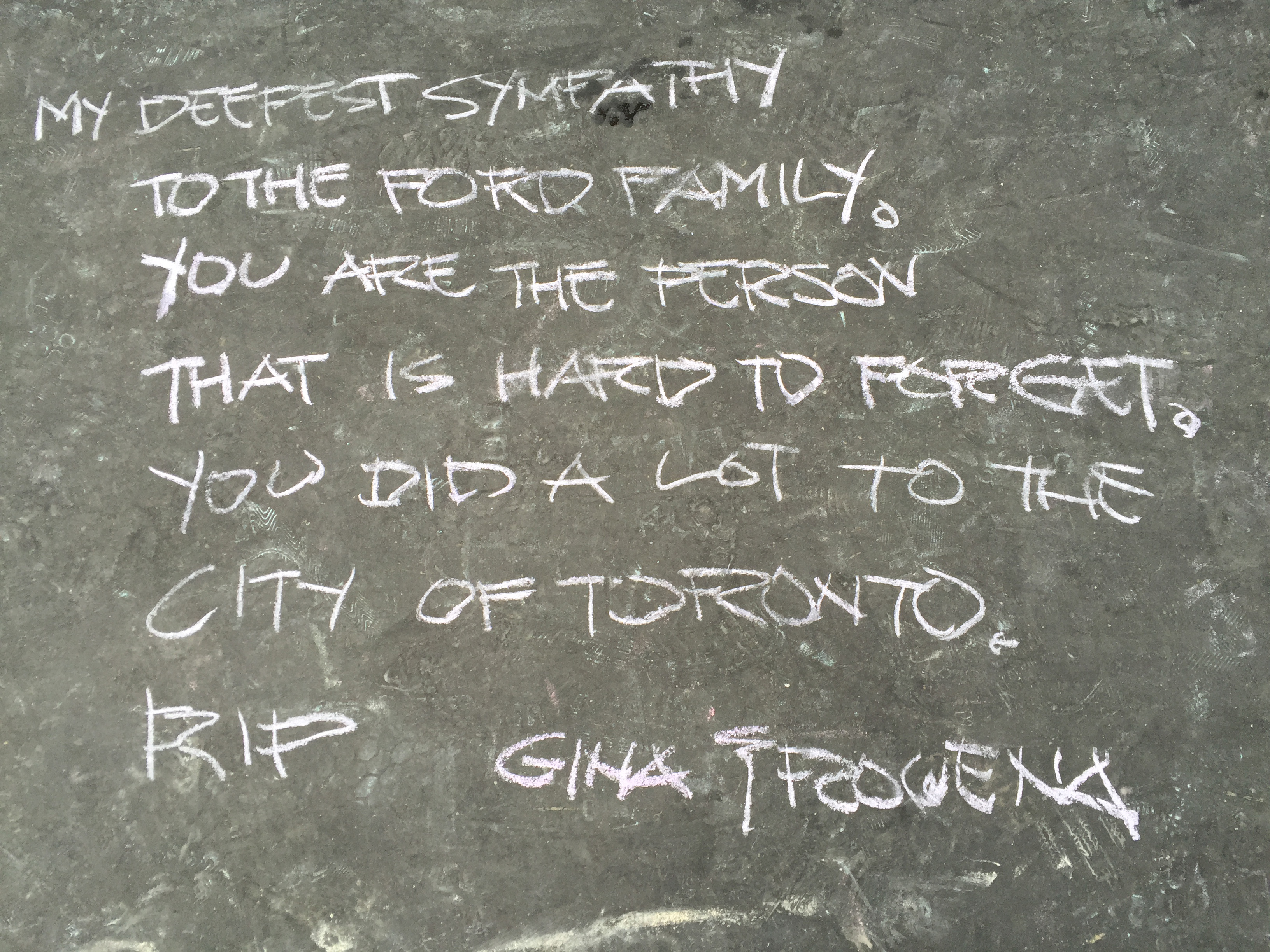 Rob Ford chalk memorial near Toronto sign outside City Hall