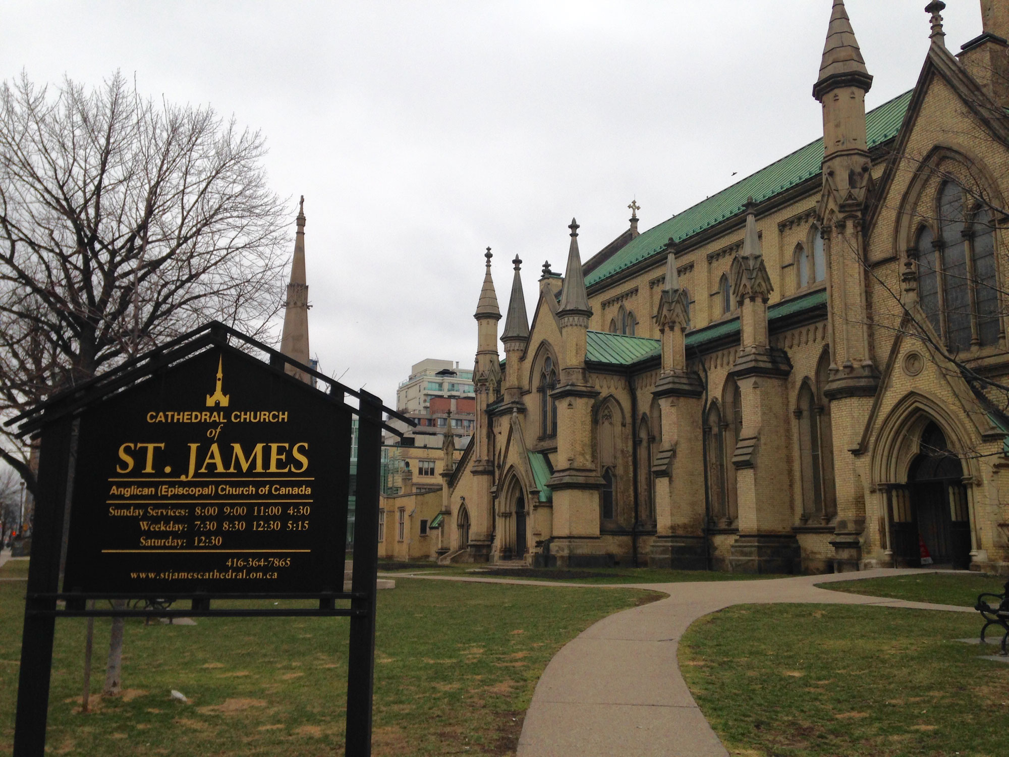 Side view of the Cathedral Church of St. James on Church Street, at King Street East, in Toronto. 680 NEWS/Patricia D'Cunha.