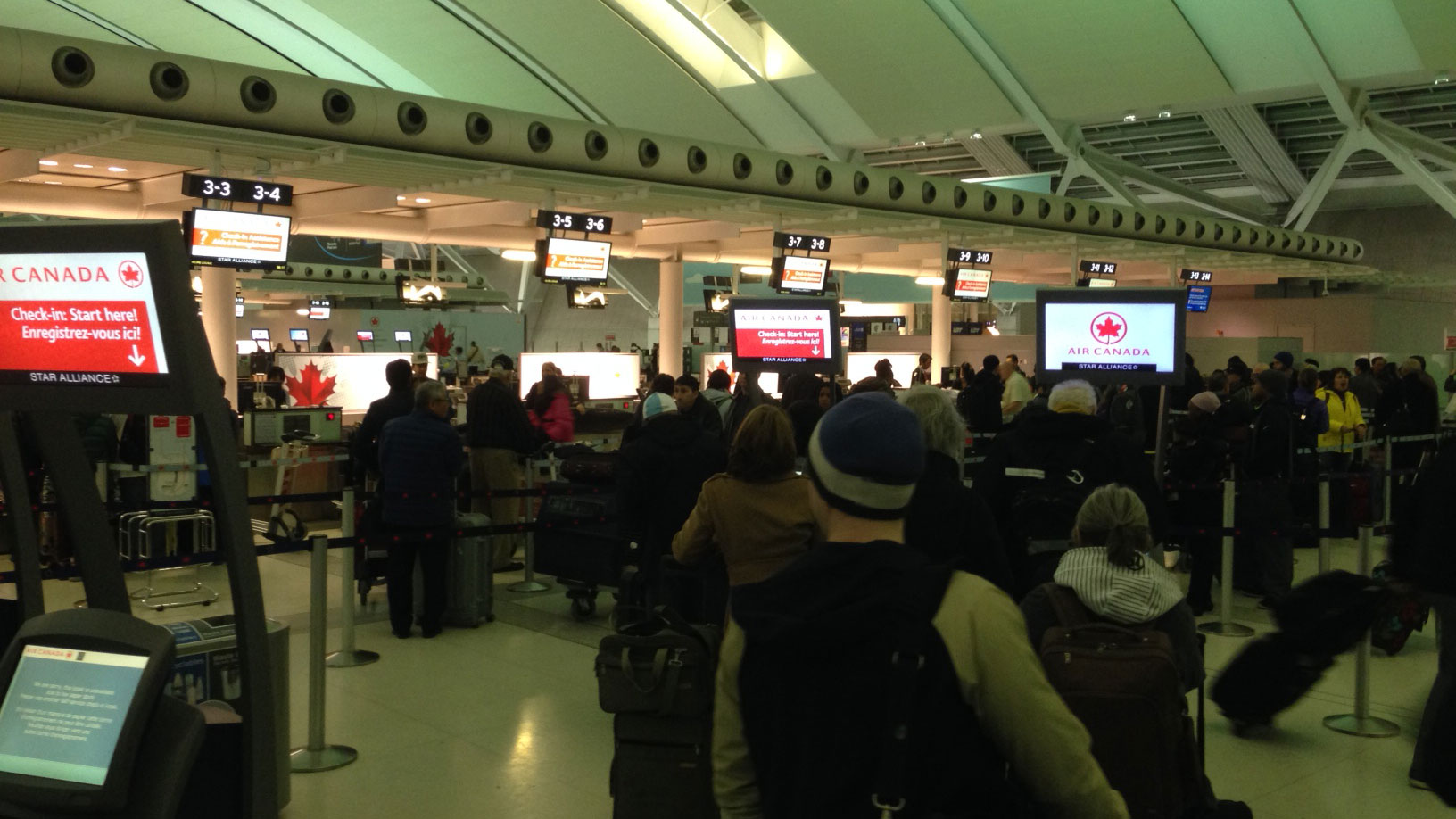 Several flights have been cancelled or delayed at Pearson International Airport due to weather on March 24, 2016. CITYNEWS/Bertram Dandy.