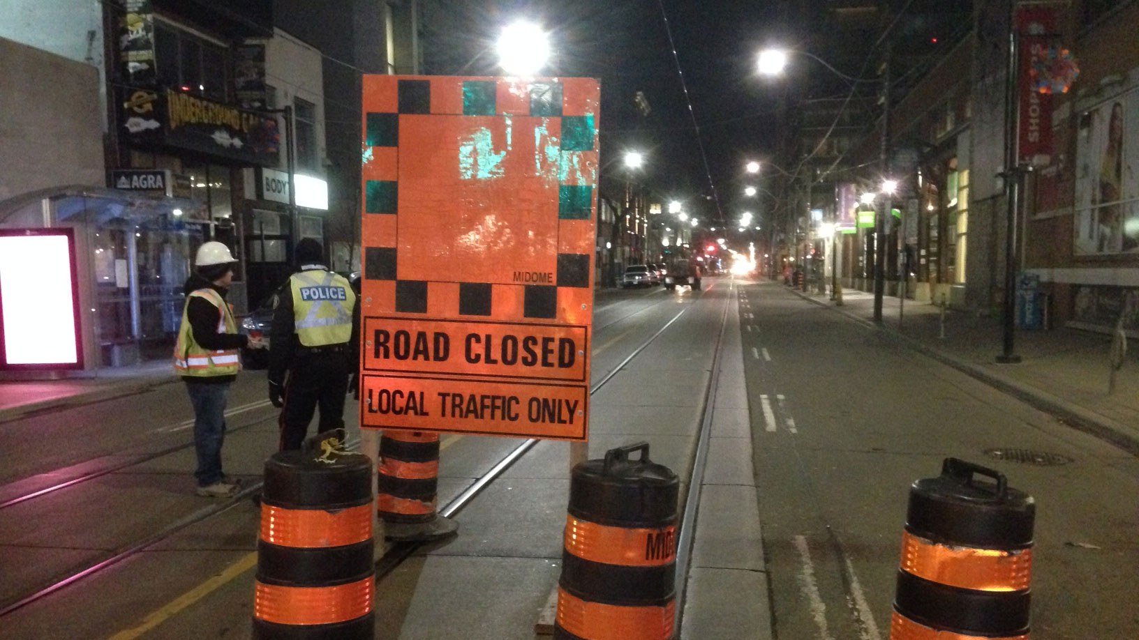 The intersection of King Street and Charlotte Street is closed to traffic from March 29 to April 11, 2016, for TTC track replacement work and sidewalk repairs. CITYNEWS/Bert Dandy.