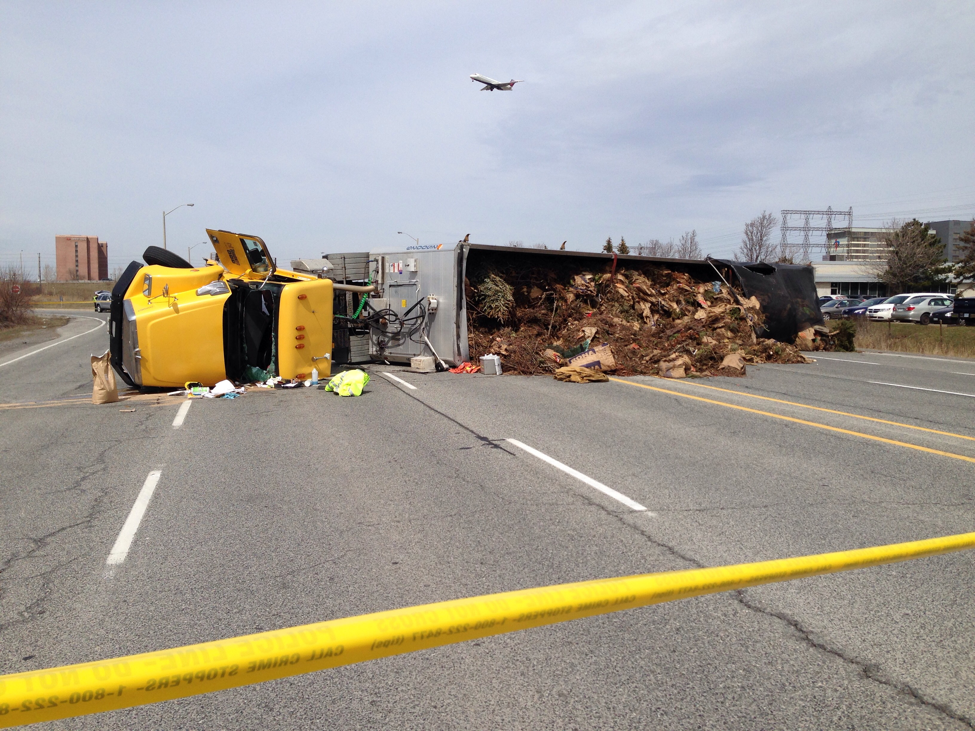 Tractor-trailer roll-over sends one person to hospital ...