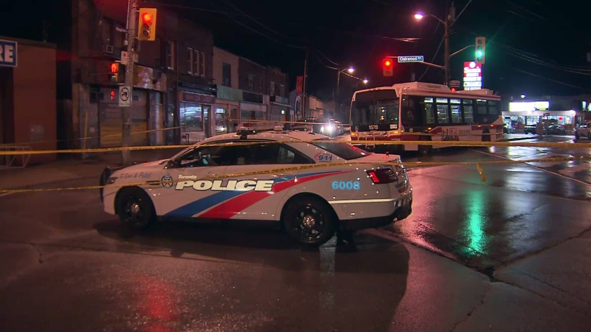 A man is in hospital after he was struck near Oakwood and Vaughan on March 31, 2016. CITYNEWS.