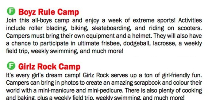 The details for two summer camp options offered by the town of Richmond Hill. RICHMONDHILL.CA.