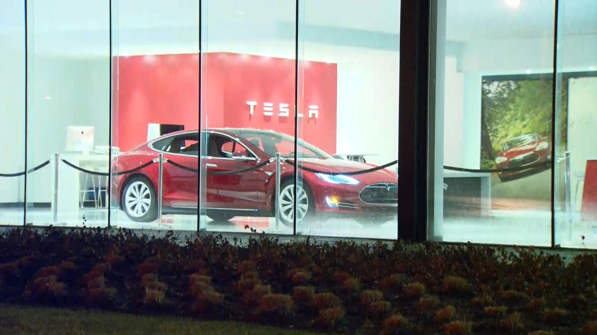The Model 3 sits in the Tesla showroom at Lawrence Avenue East on March 31, 2016. CITYNEWS/Bertram Dandy.