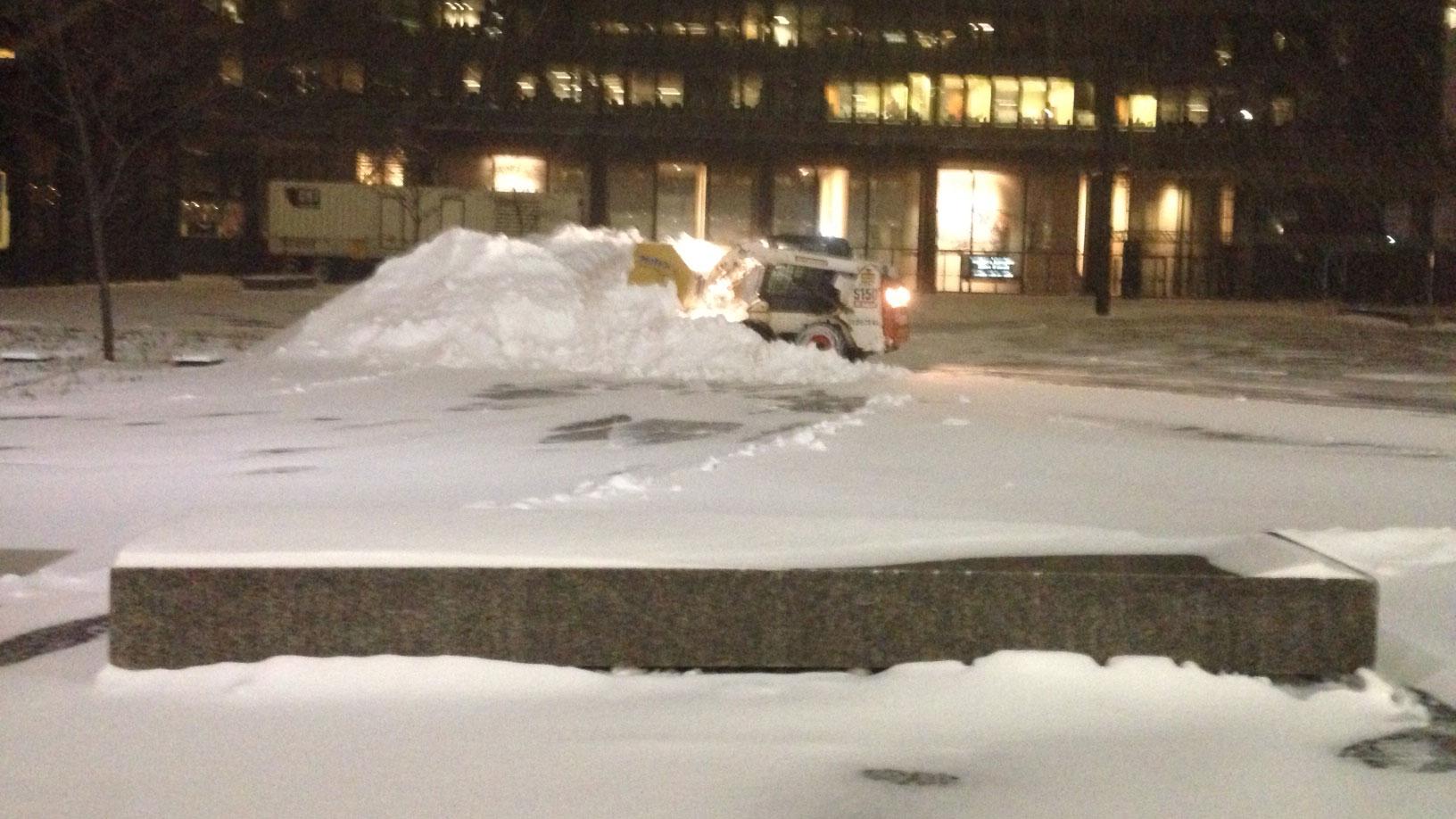 Snow clearing crews on a Toronto street on April 4, 2016.  CITYNEWS/Bertram Dandy.