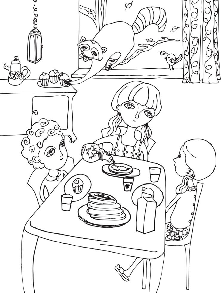 Welcome to Toronto colouring book: pancake breakfast with a raccoon Artist: Kinda Arbach
