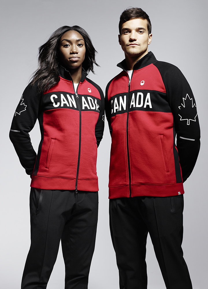 Khamica Bingham and Matthew Sarmento model Hudson's Bay Team Canada Collection on April 12, 2016. HUDSON'S BAY.