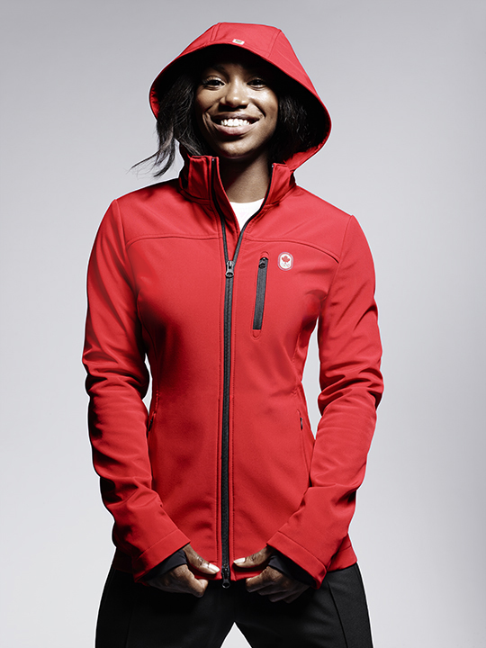 Khamica Bingham, sprinter, models Hudson's Bay Team Canada Collection on April 12, 2016. HUDSON'S BAY.