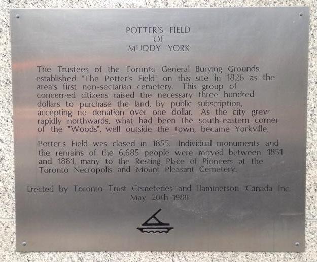 Plaque in Yorkville, describing Potter's Field. PHOTO: Liny Lamberink