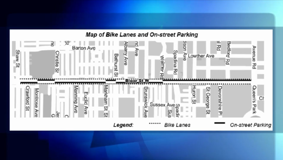 Proposed design for the bike lane pilot project on Bloor Street in Toronto. CITY OF TORONTO.