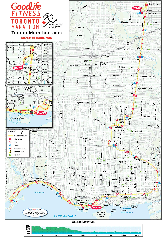 Route map for the full marathon at the 2016 GoodLife Fitness Toronto Marathon. Photo via torontomarathon.com.