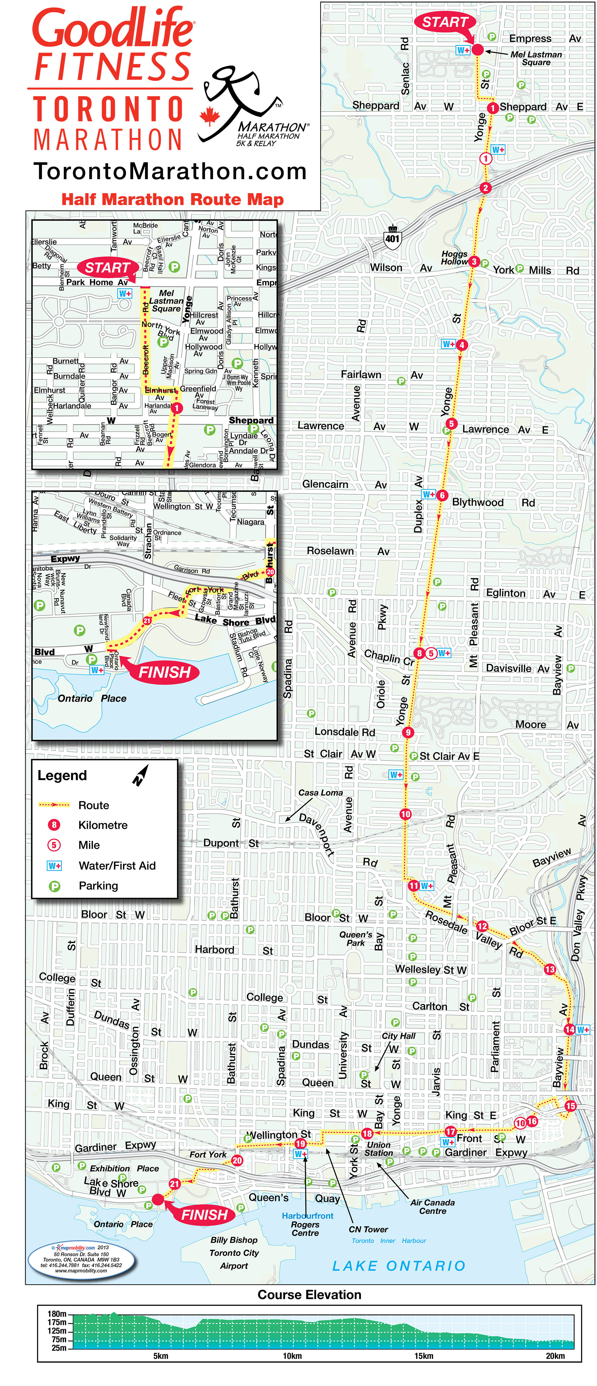 Route map for the half marathon at the 2016 GoodLife Fitness Toronto Marathon. Photo via torontomarathon.com.