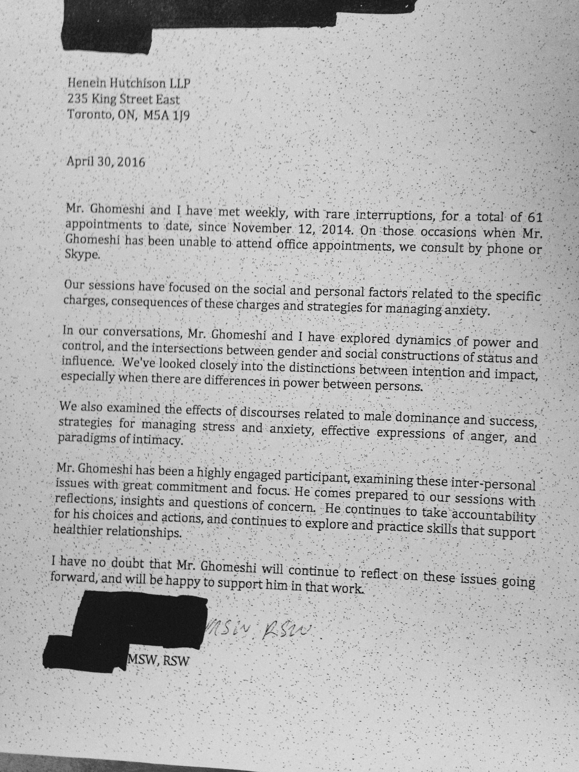 Letter from Jian Ghomeshi's therapist. CITYNEWS.